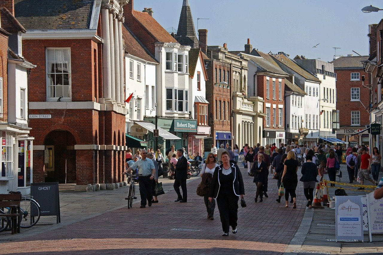 High Street Chichester with shoppers