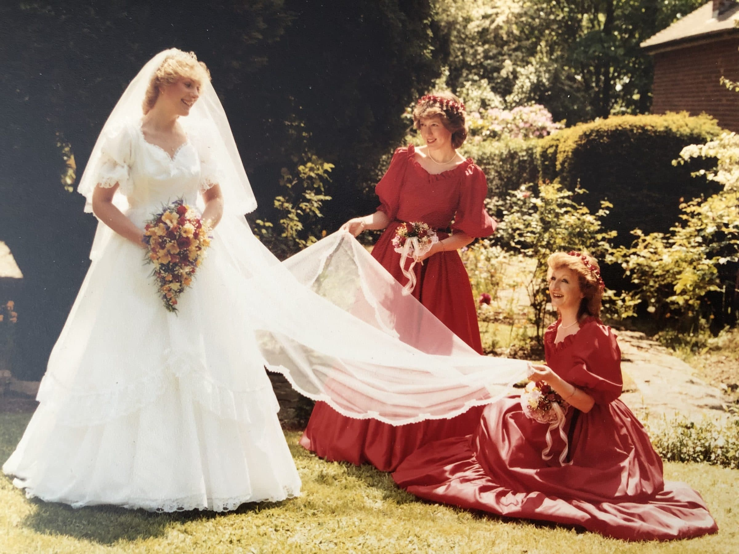 Fiona and two bridesmaids, 1st June 1985