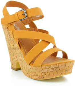 Yellow ladies court wedge sandal