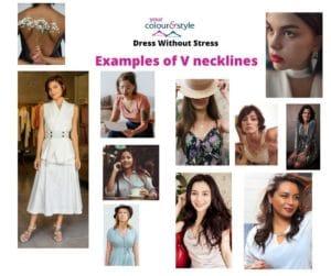Examples of V necklines