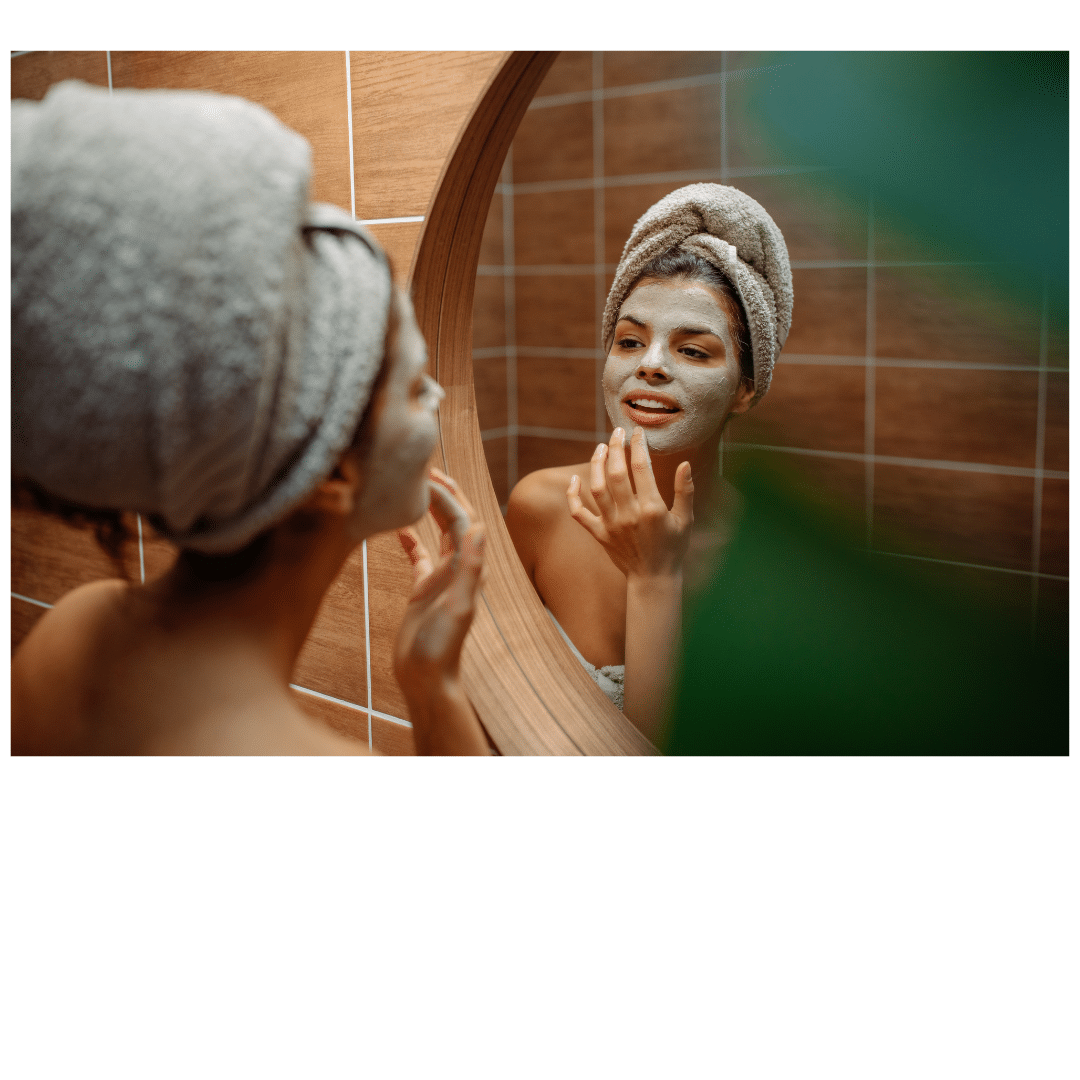 Woman pampering herself