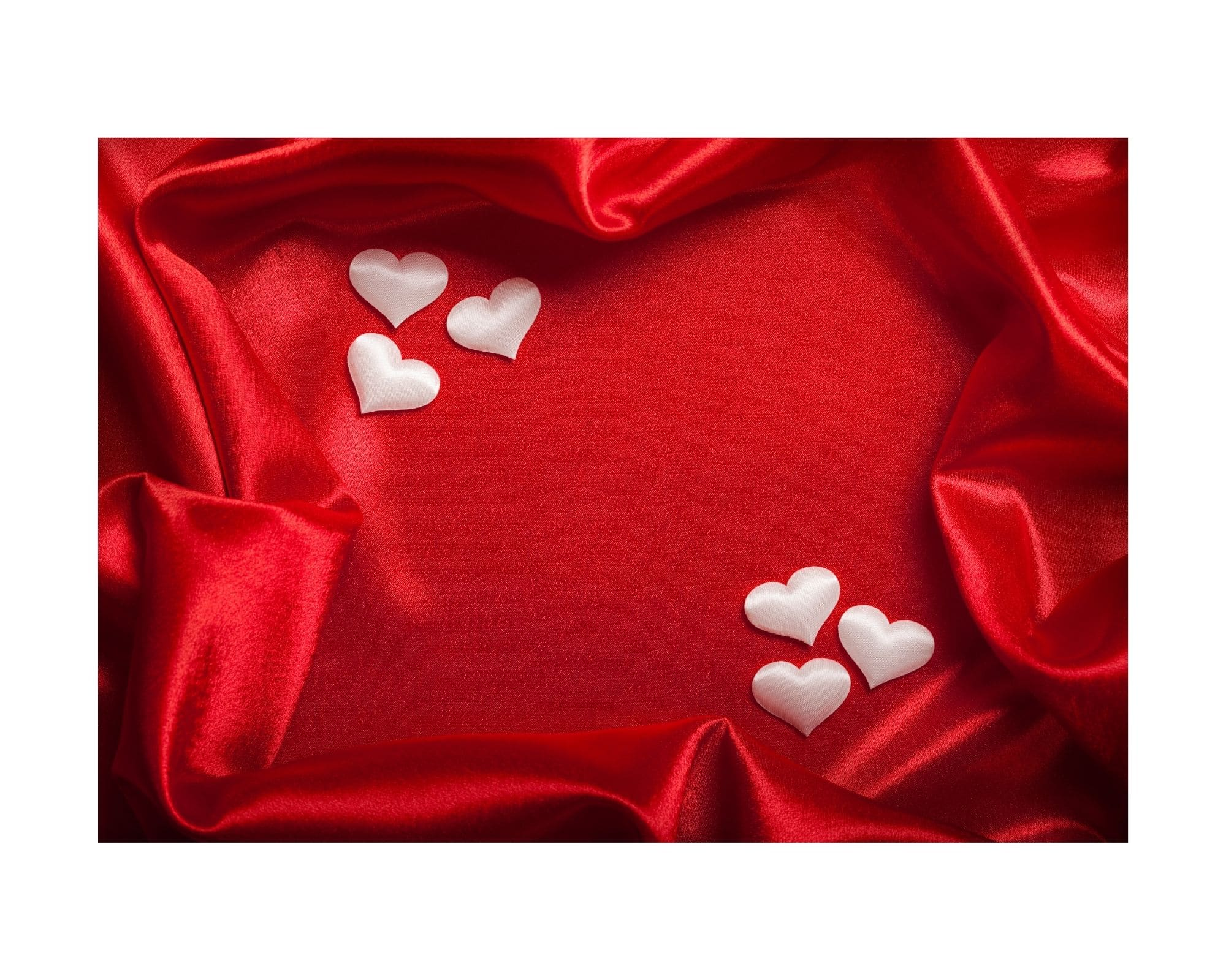 red cloth with white hearts on it